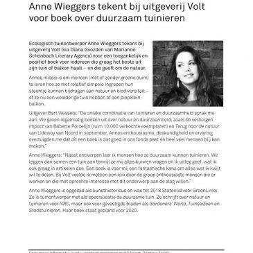 Anne schrijft boek over duurzaam tuinieren
